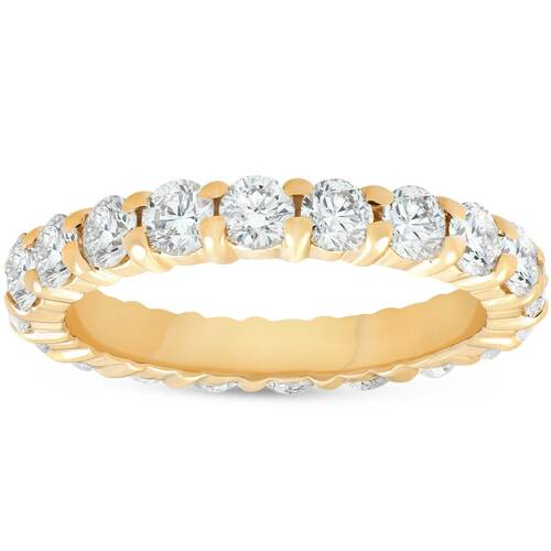 2ct Prong Diamond Eternity Ring 14K Yellow Gold (G/H, I1)
