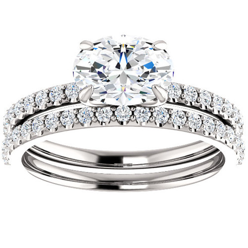 1 3/8cttw Oval Diamond Engagement Wedding Ring Set 14K White Gold (G/H, SI1-SI2)