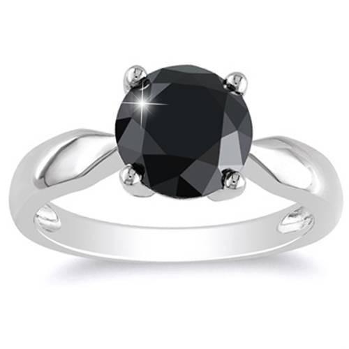 2 1/2ct Black Diamond Solitaire Engagement Ring 14k White Gold (Black, )