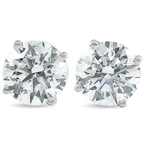2 Carat Round Lab Grown Diamond Studs 14K White Gold With Screw Backs (I, VS)