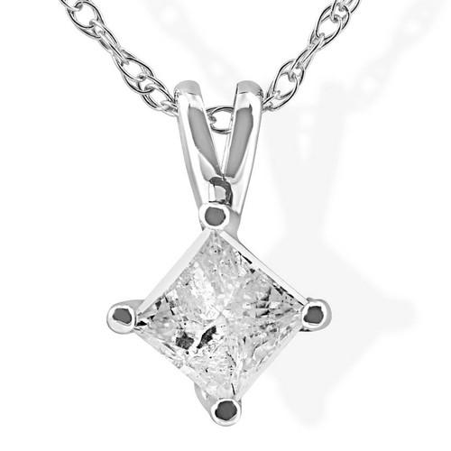 1/3Ct Princess Cut Solitaire Diamond 14K White Gold Pendant & Chain (J-K, I2-3)