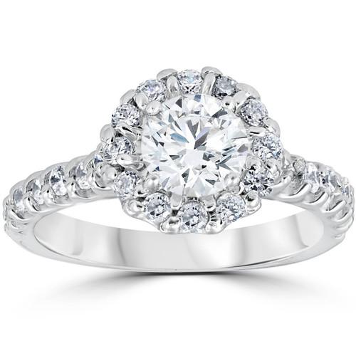 1 3/8ct Halo Diamond Engagement Ring 14K White Gold (G/H, I1)