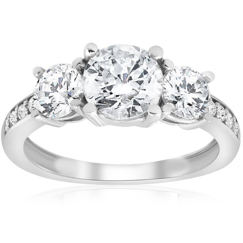 1 1/2ct 3-Stone Diamond Engagement Ring 14K White Gold (G/H, I2-I3)