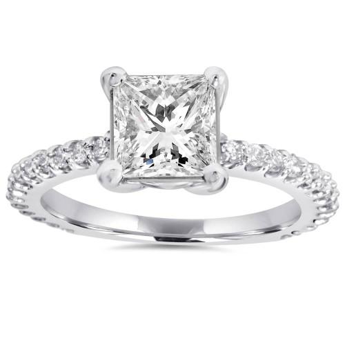 Princess Cut Diamond 1 1/3 ct Engagement Ring 14k White Gold ((G-H), SI(1)-SI(2))
