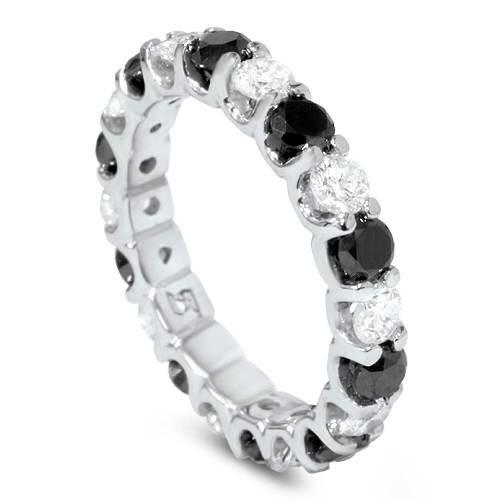 2ct Black & White Diamond Eternity Ring 14K White Gold U Shape Setting (G/H, SI2)