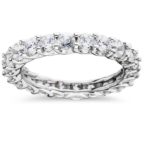 2 1/2ct U Shape Diamond Eternity Ring 14K White Gold (G/H, I1-I2)