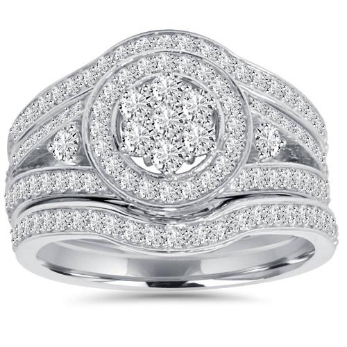 1.00CT Halo Diamond Engagement Trio Wedding Guard Ring Set White Gold (H/I, I2-I3)