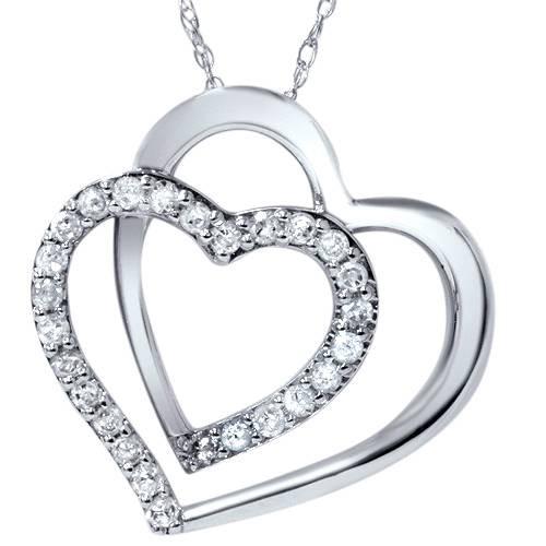"1/4ct Diamond Heart Shape Pendant 10K White Gold 3/4"" Tall (H-I, I2)"