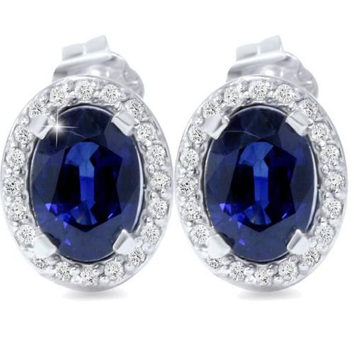 2 1/4ct Blue Sapphire Diamond Halo Studs 14K White Gold (G/H, I2)
