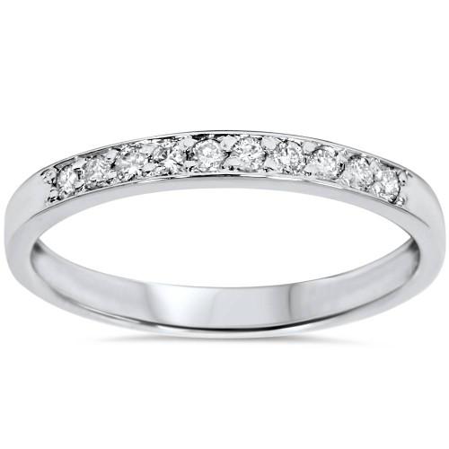 1/4ct Diamond Stackable Wedding Ring 14K White Gold (G/H, I2-I3)