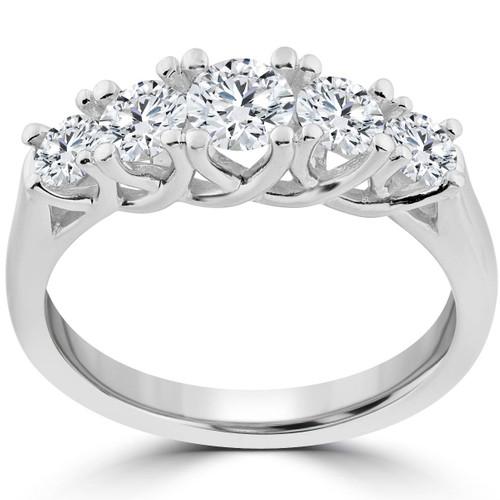 1 Ct 5-Stone Graduated Real Round Diamond Wedding Engagement Ring 14K White Gold (H/I, I1-I2)