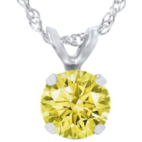 3/4ct Yellow Diamond Solitaire Pendant 14K White Gold (yellow, I1)