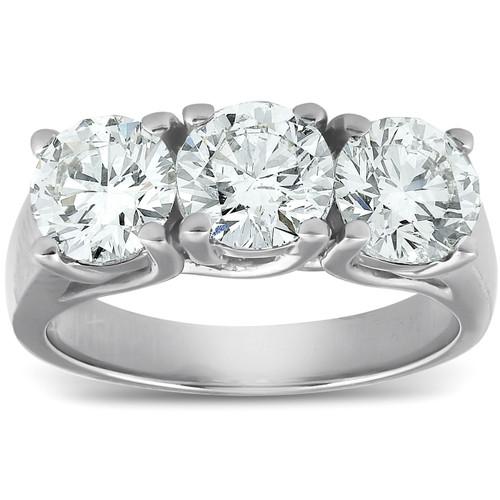 2 1/2ct Three Stone Large Diamond Engagement Ring 14K White Gold (G/H, SI)