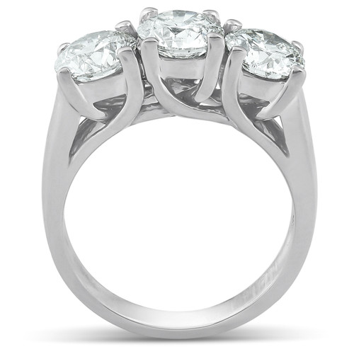 2 1/2ct Three Stone Large Diamond Engagement Ring 14K White Gold (G/H, SI)