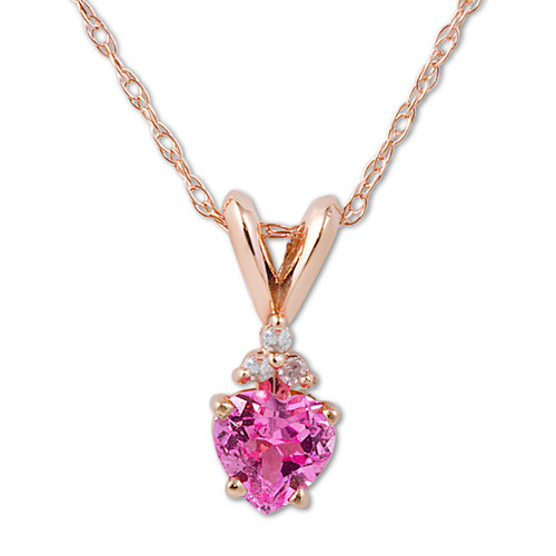 1/2ct Diamond & Pink Sapphire Heart Pendant 14K Rose Gold (G, I1)