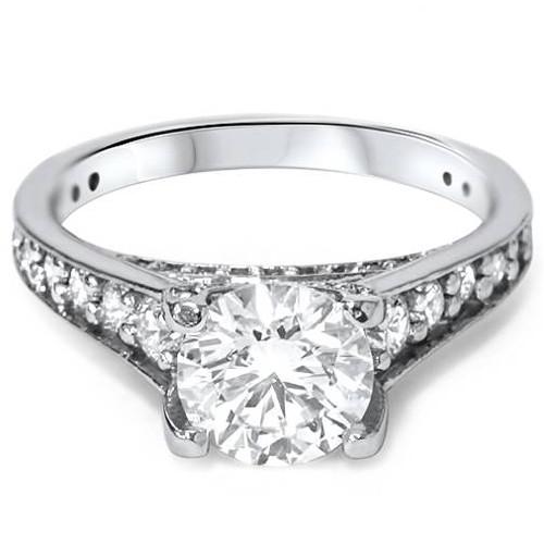 1 1/2ct Enhanced Diamond Engagement Ring 14K White Gold (G/H, I1)