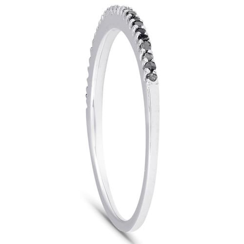 1/6ct Black Diamond Stackable Wedding Ring 14k White Gold (Black, )