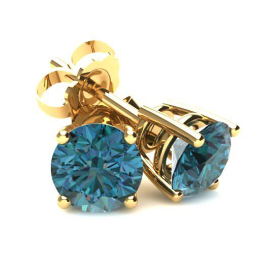 2.00Ct Round Brilliant Cut Heat Treated Blue Diamond Stud Earrings in 14K Gold Basket Setting (Blue, SI2-I1)