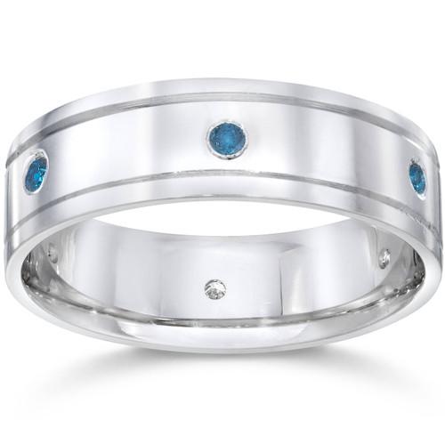 Mens 1/4ct Blue Diamond 14K White Gold Wedding Band (Blue, SI)