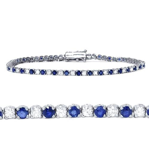 2ct Blue Sapphire & Diamond Genuine Tennis Bracelet 14K White Gold (G/H, I1-I2)