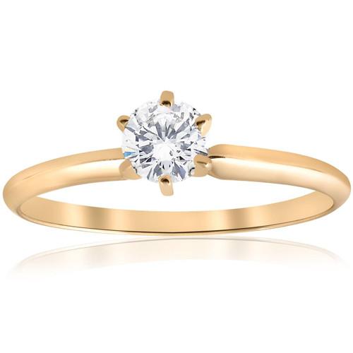 14k Yellow Gold 1/2ct Round Solitaire Diamond Engagement Ring (G/H, I1)