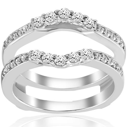 1/2ct Diamond Guard Ring Insert Enhancer 14K White Gold (G/H, SI2)