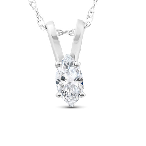 1/8ct Fancy Marquise Diamond Solitaire Pendant 14K White Gold (G/H, SI)