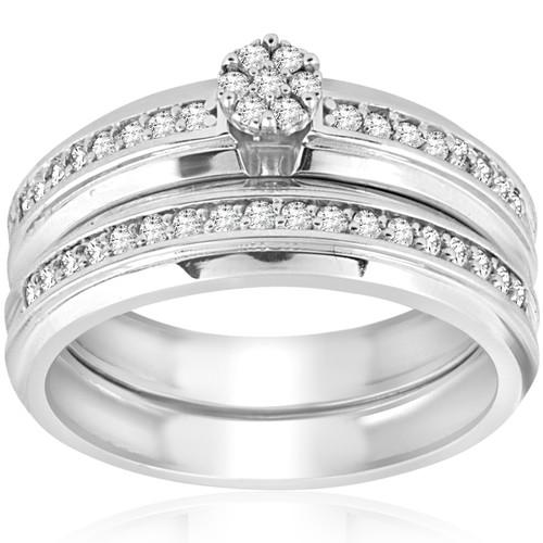 3/8cttw Diamond Engagement Wedding Ring Set 10k White Gold (H/I, I1-I2)