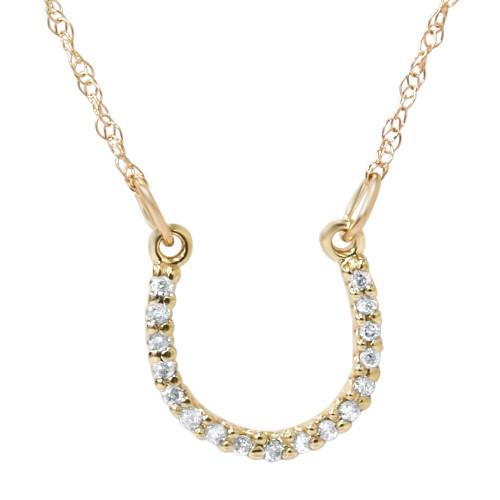 1/10ct Petite 14k Yellow Gold Diamond Horseshoe Pendant (H-I, I2)