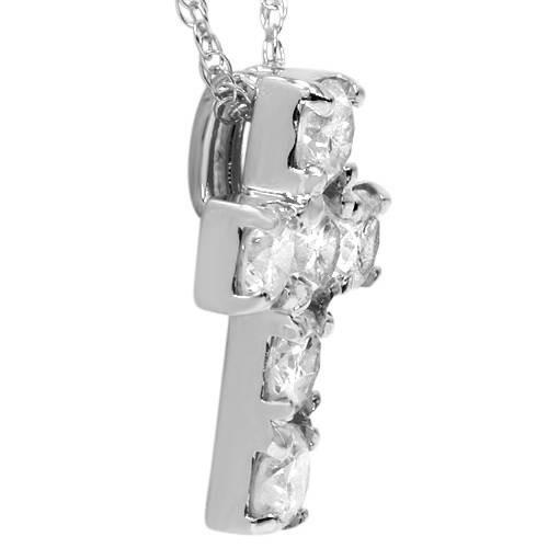 "1ct Diamond Cross Pendant 14K White Gold 1/2"" Tall (G, I2)"