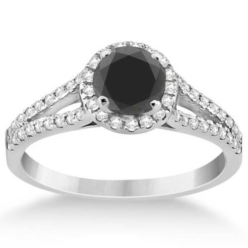 1ct Treated Black Diamond Halo Split Shank Engagement Ring 14K White Gold (G/H, I1-I2)