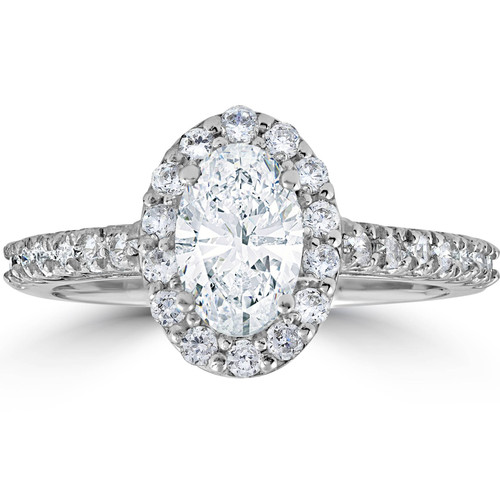 1 1/2ct Oval Clarity Enhanced Diamond Halo Engagement Ring 14K White Gold (G/H, SI)