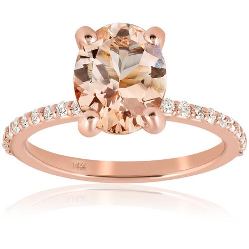 2 1/10 cttw Oval Morganite & Diamond Engagement Ring 14k Rose Gold (H/I, I2-I3)