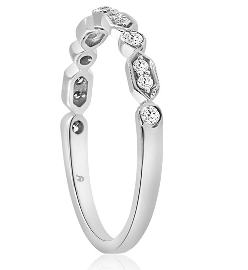 1/8 cttw Diamond Wedding Ring Womens Stackable Anniversary Band 14k White Gold (H/I, I1-I2)