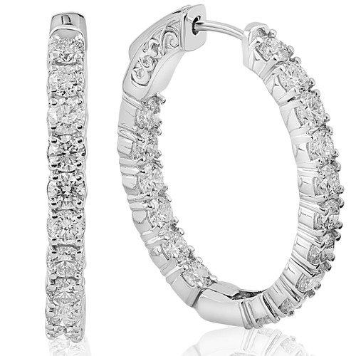 3.79CT Inside Outside Diamond Hoops 28MM tall 14k White Gold Round Cut (G, VS)