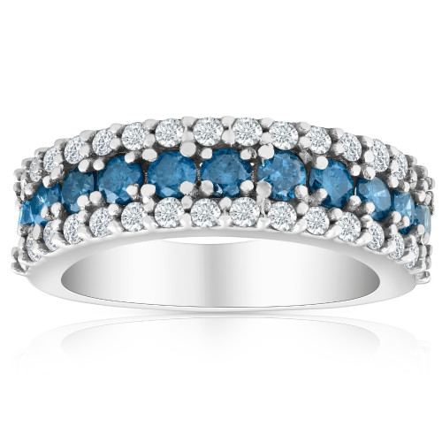 1 1/2ct Blue & White Diamond Wedding Anniversary Ring (G/H, I2)
