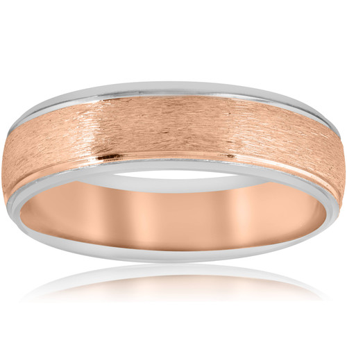 Mens Rose & White 14K Gold Two Tone Band