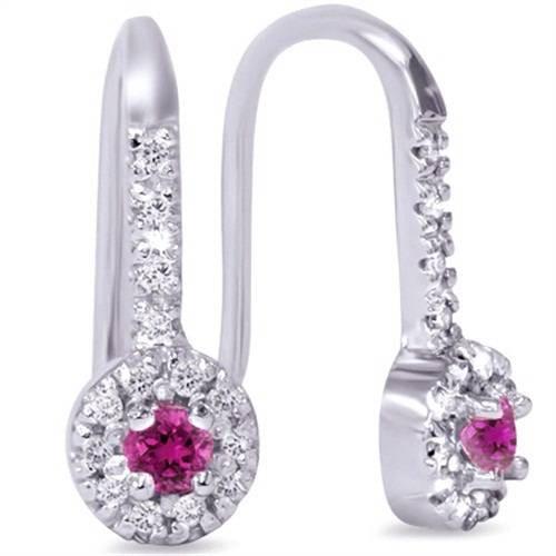 1/3ct Pink Sapphire & Diamond Drop Earrings 14K White Gold (G/H, I2)