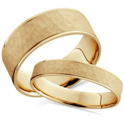 Matching Hammered Comfort Fit His Hers Wedding Band Set