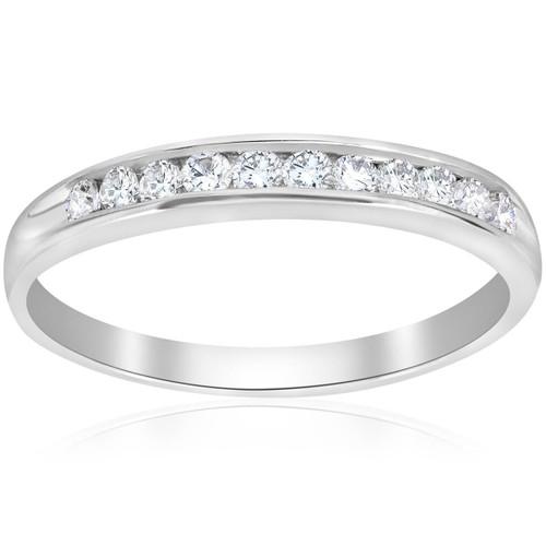 1/4ct Diamond 10k White Gold Wedding Anniversary Guard Ring (G/H, I2)