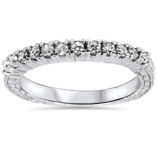 1/3ct Vintage Diamond Ring 14K White Gold (G/H, I1-I2)