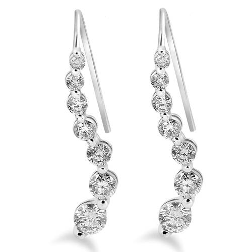 "1ct Diamond Journey Earrings 14K White Gold 1"" Tall (H, I1)"