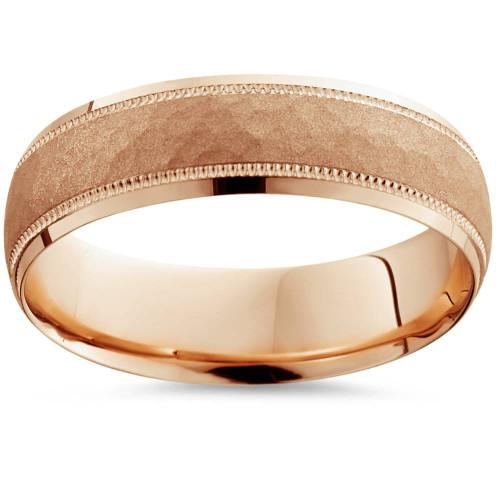 6mm Mens Rose Gold 14K Hammered Band Wedding Ring