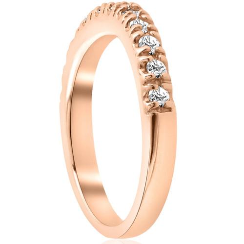 1/4ct Diamond Curved Wedding Guard Band 14K Rose Gold (H/I, I1-I2)