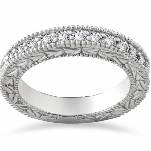 1/4ct Lab Grown Diamond Vintage Wedding Ring 14K White Gold (F, VS)