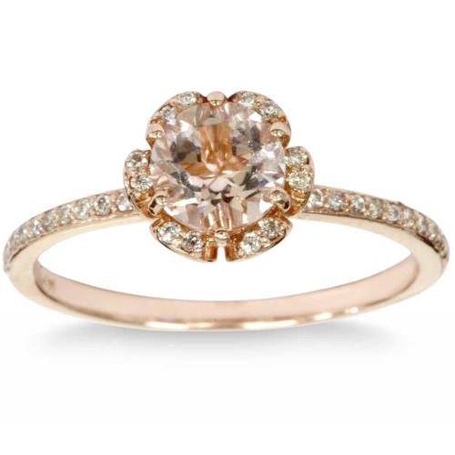 7/8 Carat Morganite & Diamond Engagement Ring 14K Rose Gold (H/I, I1-I2)