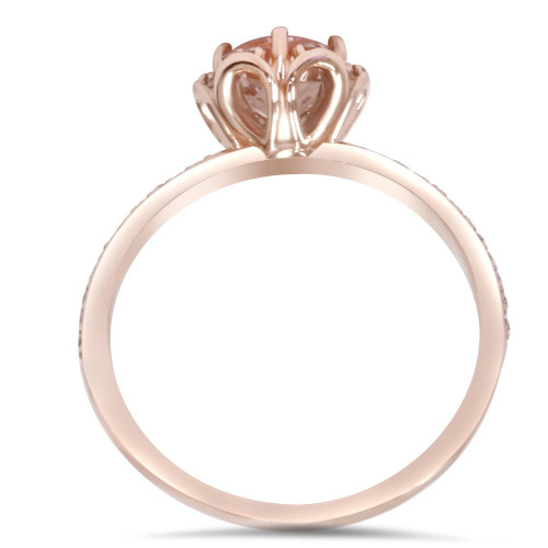 7/8 Carat Morganite & Diamond Engagement Ring 14K Rose Gold (H/I, I1-I2)