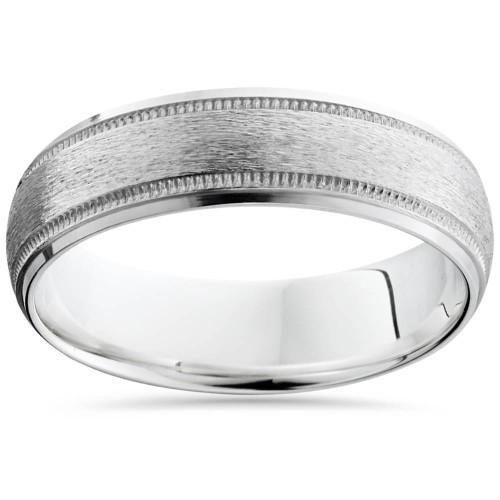 Brushed Milgrain & Polished Beveled Wedding Band 14K White Gold 6mm