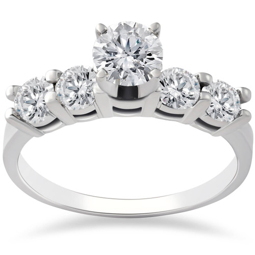 1ct Diamond Engagement Ring Five Stone 14k White Gold (G/H, I1-I2)
