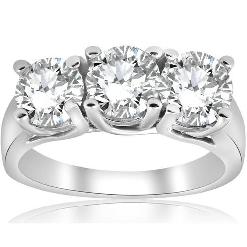 3ct Three Stone Diamond Engagement Ring 14K White Gold (G/H, I1)